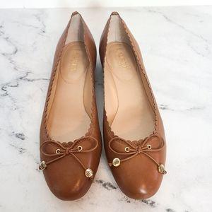 Ralph Lauren Leather Bow Ballet Flats